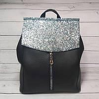 Сумка-рюкзак женский Zara, цвет черный с пайетками ( код: IBG207B2 )