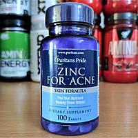 Цинк Puritan's Pride Zinc for Acne 100 Tablets Цинк від акне