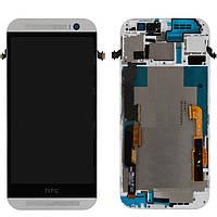 Дисплейный модуль (дисплей + сенсор) для HTC One M8, с передней панелью, белый, оригинал