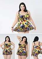 Женский купальник-платье танкини на большие размеры желтый