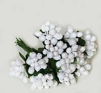 """""""Тычинки в сахаре"""" белые, искусственных на розетке листьев (1 набор - 12 веточек )"""