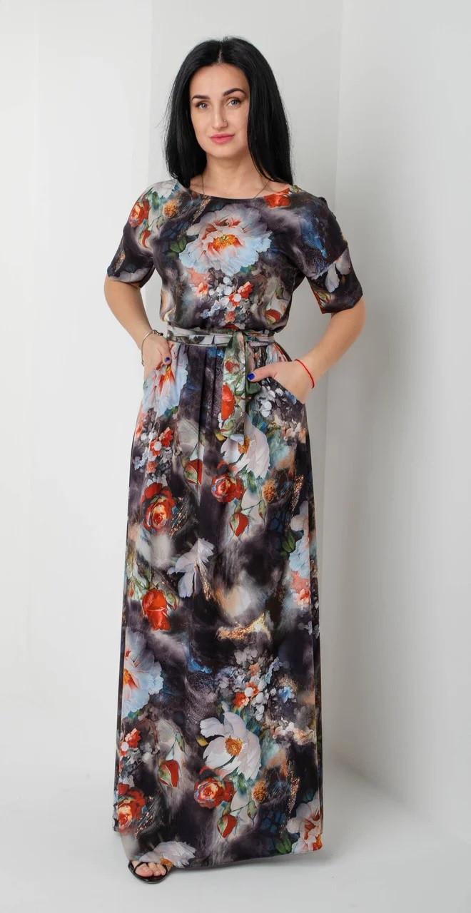 Легкое платье в пол с цветочным рисунком серо-синее