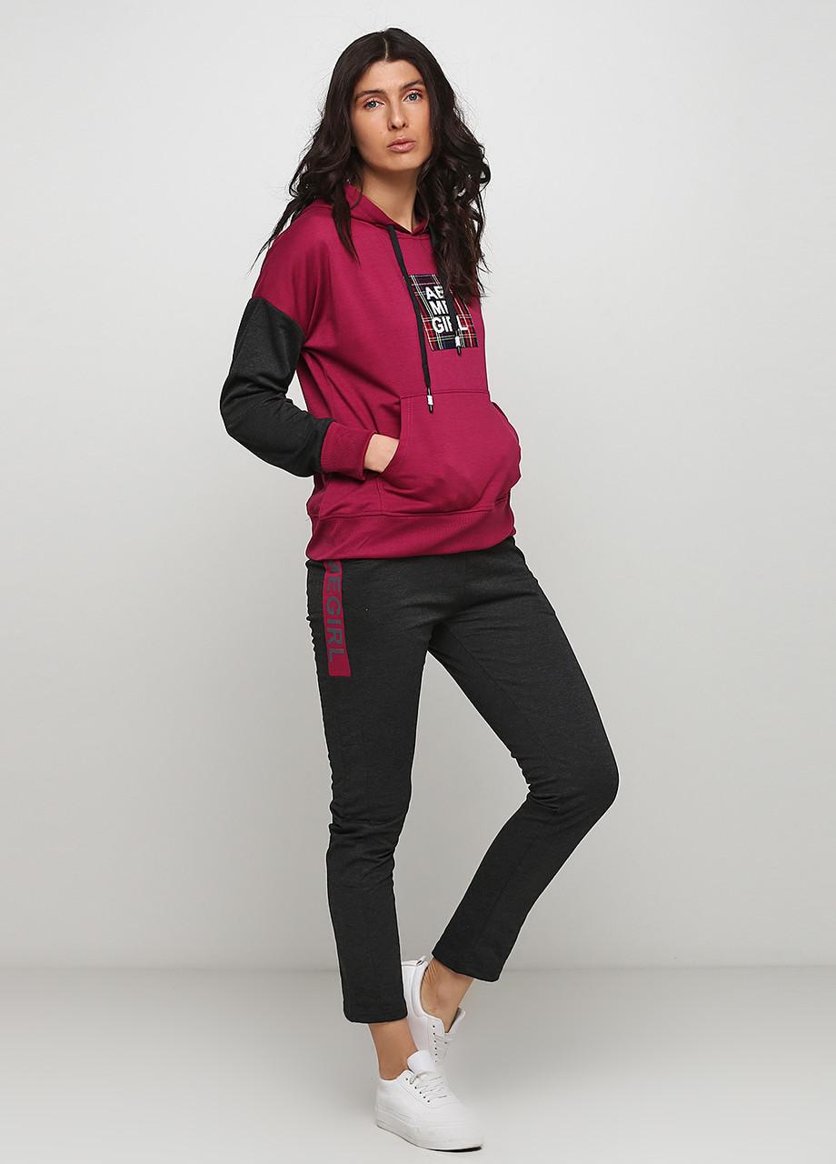 Спортивный костюм женский малиновый Godsend с надписями, 42р,44р,46р,48р.