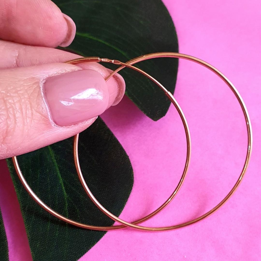 Золотые серьги-кольца диам. 45 мм - Гладкие золотые серьги конго