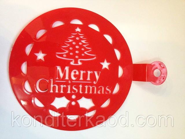 Трафарет средний диаметр 15 см Merry Christmas