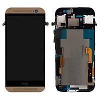 Дисплейный модуль (экран и сенсор) для HTC One M8, с передней панелью, золотистый, оригинал