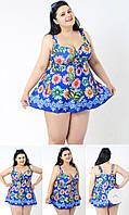 Женский купальник-платье танкини на большие размеры ромашки яркий синий электрик
