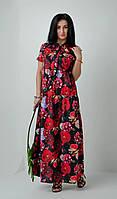 Стильное свободное платье с цветочным принтом черное, фото 1
