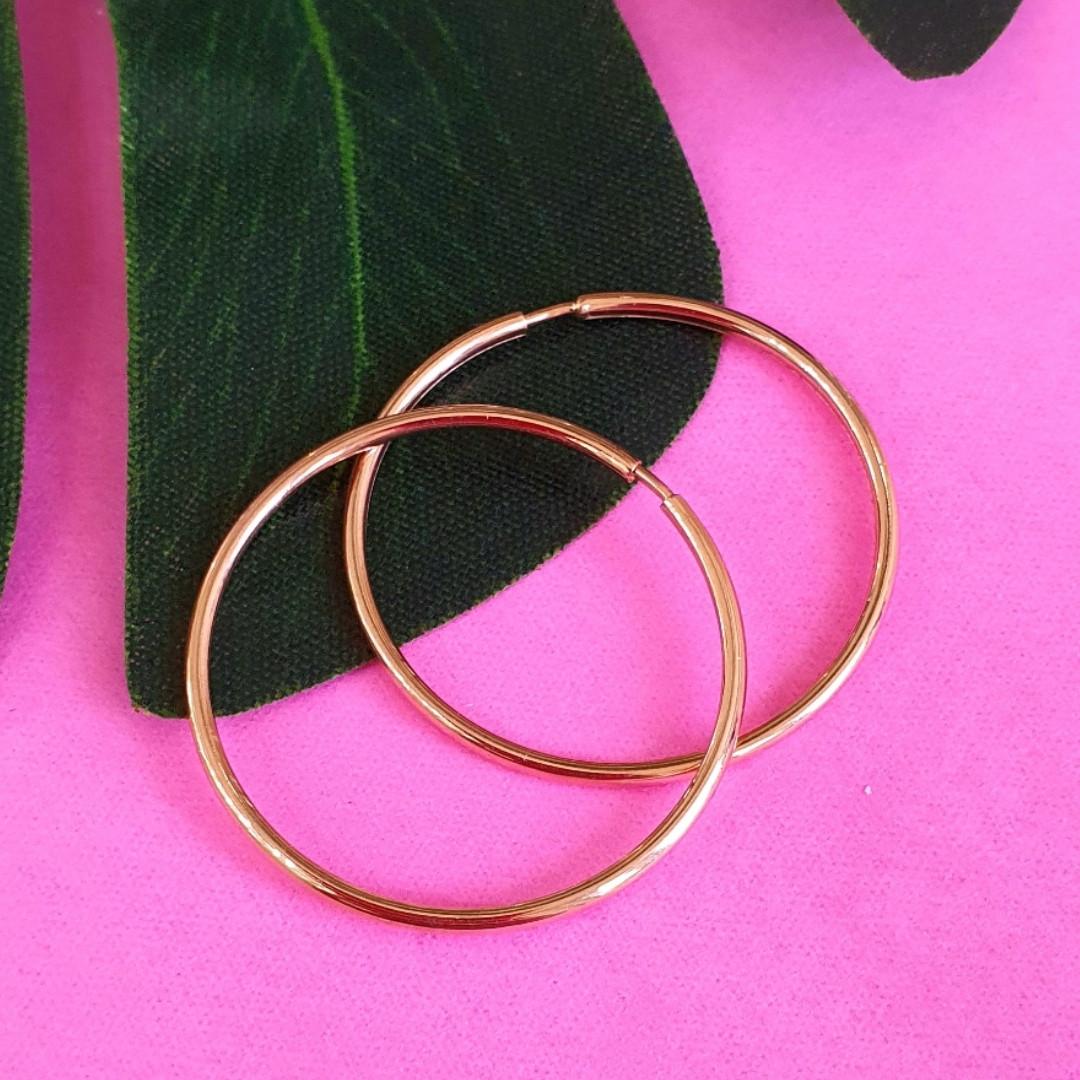 Золоті сережки-кільця гладкі діам. 30 мм - Невеликі сережки Конго із золота