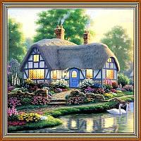 Алмазная мозайка Diy Сказочная хижина 30х30см. Дома, пейзаж, квадратные стразы, 42 цвета, полная зашивка