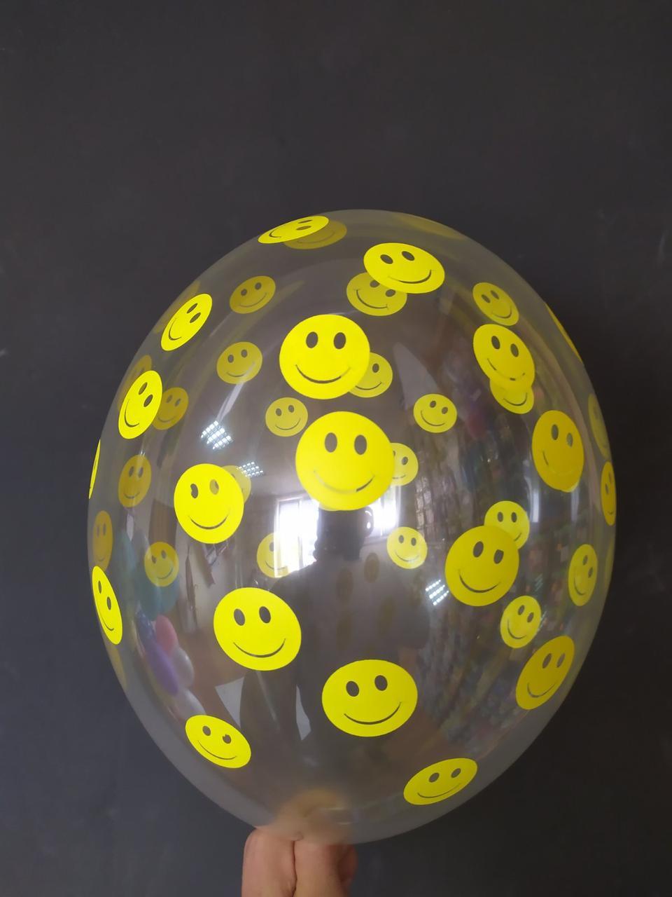 """Латексна кулька з малюнком смайлики прозорий 12"""" Belbal ТМ Шар Експерт"""