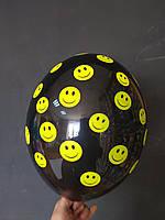 """Латексна кулька з малюнком смайлики чорний 12"""" Belbal ТМ Шар Експерт"""
