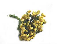 """""""Тичинки в цукрі"""" жовті, штучних на розетці листя (1 набір - 12 гілочок )"""