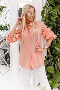 Летняя женская офисная блузка с пышными рукавами
