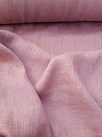 """Льняная сорочечная ткань с эффектом """"помятости"""" """"Розовый зефир"""""""