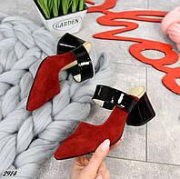 Замшевые открытые туфли на каблучке 35,39 р красный+чёрный, фото 1