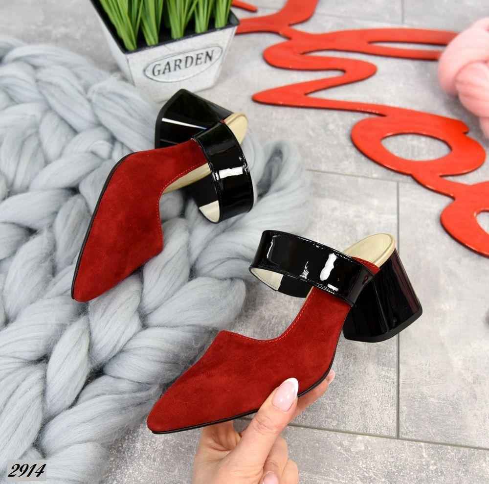 Замшевые открытые туфли на каблучке 35,39 р красный+чёрный