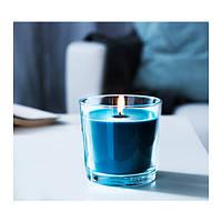 Ароматическая свеча в стакане IKEA SINNLIG 9 см морской бриз бирюзовый 602.515.47