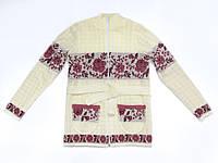 Кофта для девочки вязаная с красным узором | Кофта для дівчинки з червоним візерунком