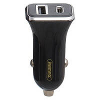 USB Car Charger 2.4A USB/Type-C Remax RCC-306 black, фото 1