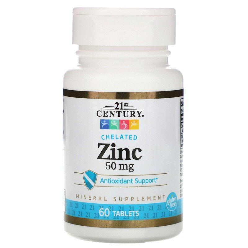 Цинк Хелат, 21st Century Health Care, 50 мг, 60 таблеток
