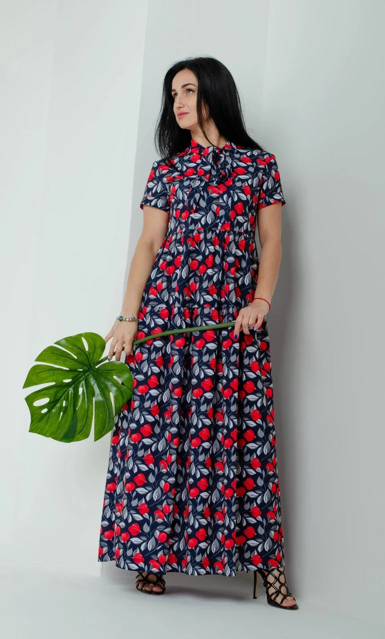 Легке вільне плаття темно-синє