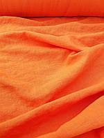 """Льняная плотная костюмная ткань с """"эффектом помятости"""" оранжевого цвета, фото 1"""