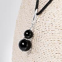 Кулон с черным турмалином шерл, серебро, Ø8 и Ø12 мм., 1249КЛШ
