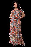 Летнее длинное платье в пол повседневное с разрезом цветочный принт D61Pisley-19