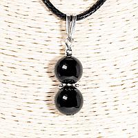 Кулон с черным турмалином шерл, серебро, Ø10 мм., 1250КЛШ