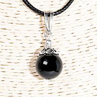 Кулон с черным турмалином шерл, серебро, Ø12 мм., 1251КЛШ