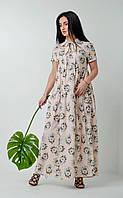 Летнее платье с рюшами молочное, фото 1