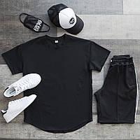 Летний комплект мужской Футболка черная+шорты+кепка+маска+носки размер  S, M, L, XL