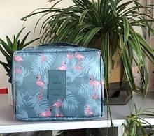 """Женская косметичка """"Фламинго"""" - высота 8,5см, ширина 16,5см, длина 21см, нейлон, водонепронецаемая"""