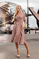 Элегантное двубортное женское офисное платье миди в горошек