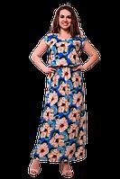 Длинное летнее платье в пол прямого кроя с цветочным принтом на резинке D56S-3 синее
