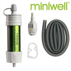 Туристический фильтр для воды miniwell L630 серый. Портативный фильтр для очистки воды. 0.1 микрон.