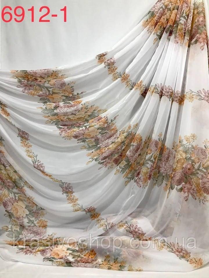Тюль шифон  коричневый  цветок