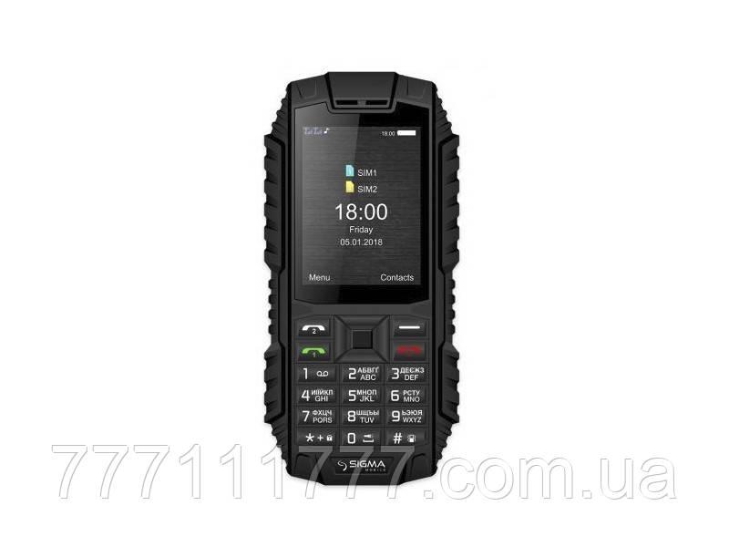 Телефон кнопочный водонепроницаемый с большим экраном, камерой и с батареей большой емкости Sigma Dt 68 Black