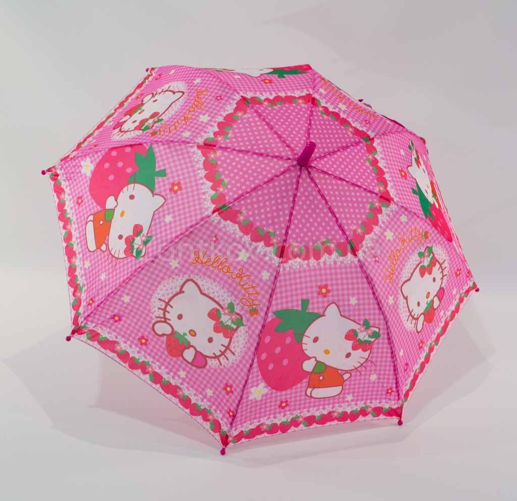 """Детский зонтик-трость """"Hello Kitty"""" с пластиковой спицей от фирмы """"Rainproof"""""""