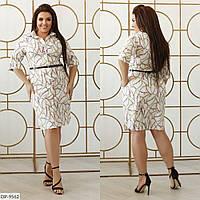 Модное летнее приталенное платье-рубашка размеры батал 48-58 арт 223