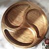 Менажница деревянная доска для подачи блюд 30 см. круглая из дуба на 3 деления, двусторонняя, фото 2