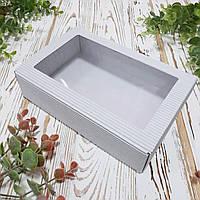 Коробка белая из гофрокартона с окном большая 215х140х50 мм.