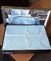Покрывало жаккардовое с наволочками Zeron Sonil Venus Blue 240x260 SKL53-239739