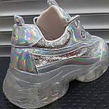 Кросівки жіночі неонові срібні, фото 2