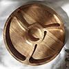 Менажница деревянная доска для подачи блюд 30 см. круглая на 3 секции с соусницей двусторонняя, фото 2