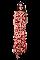 Длинное летнее платье в пол прямого кроя с цветочным принтом на резинке D56S-6