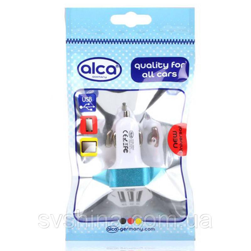 """Зарядное устройство лазурно-белое """"AutoStecker USB"""" Alca 12/24V, 3USB, 510540"""