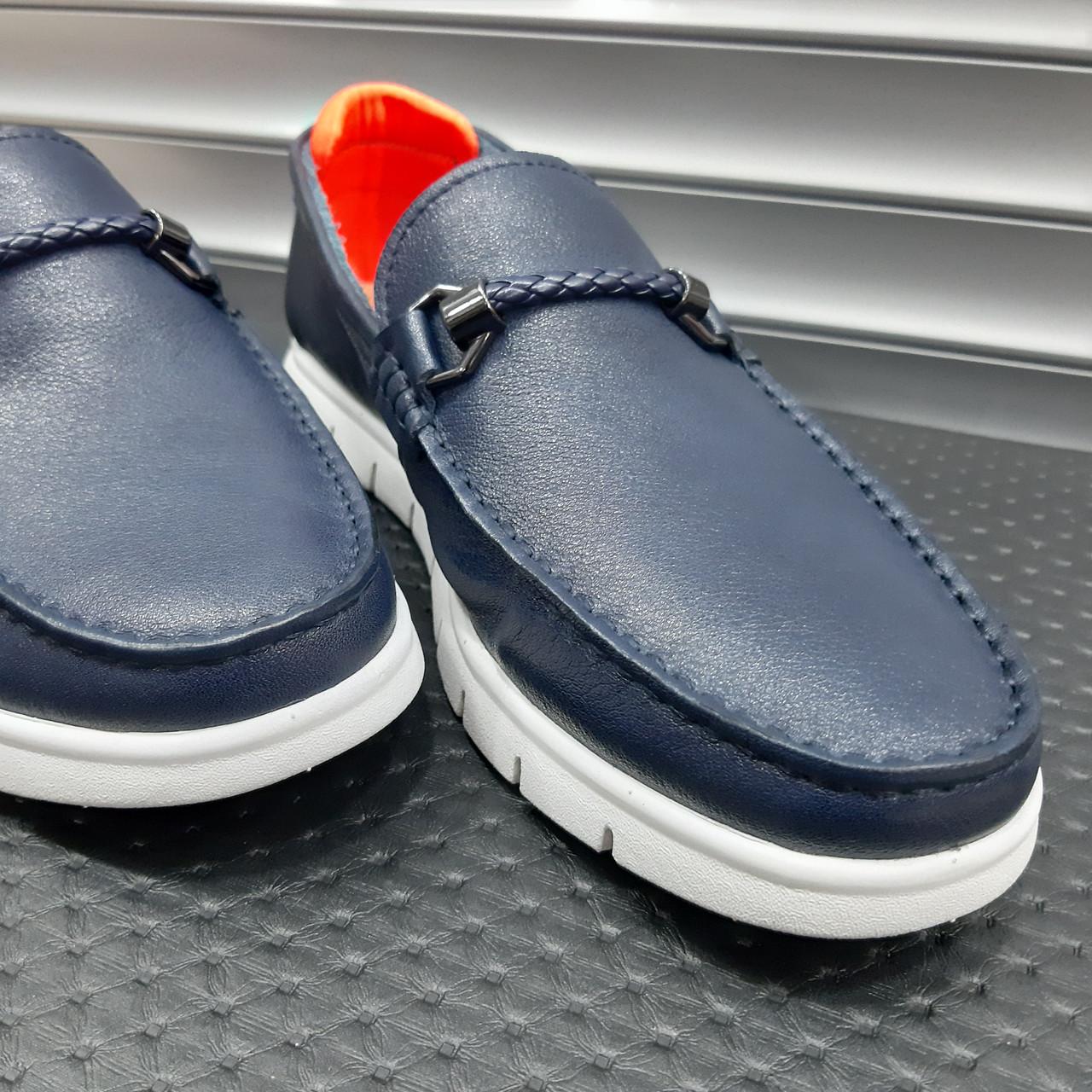 Лофери туфлі чоловічі сині