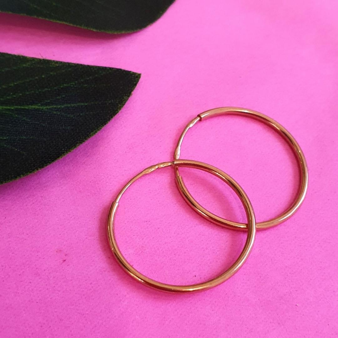 Золотые серьги кольца диам. 20 мм - Серьги конго золото